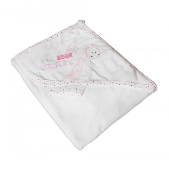 Бебешка хавлийка 100% памук Wildlife розово