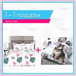 3D спално бельо 1+1 - Wolf & Flamingo