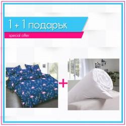 3D спално бельо + олекотена завивка - Blue Flamingos