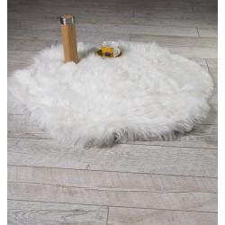 Луксозно кръгло килимче от кожа БЯЛО