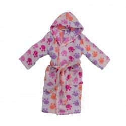 Юношески хавлиен халат Лапички розово