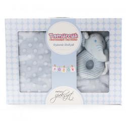 Бебешко одеяло с подарък играчка Elephant blue