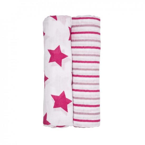 2 броя пелени органичен памук Pink Dream