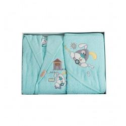 Бебешки хавлиен халат с хавлийка комплект DoggyG