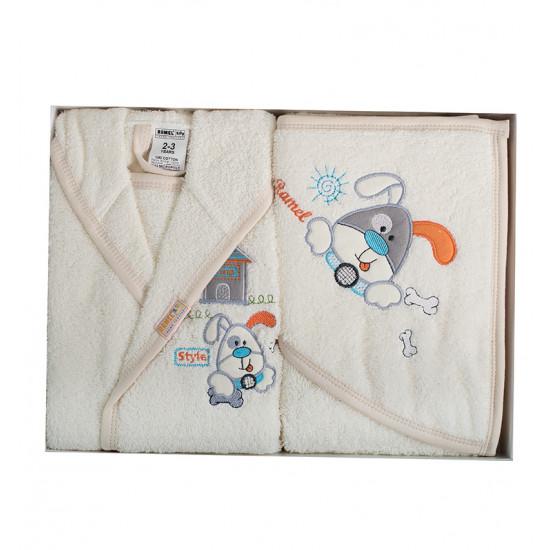 Бебешки хавлиен халат с хавлийка комплект DoggyG cream
