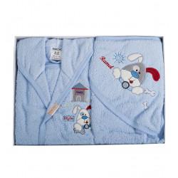 Бебешки хавлиен халат с хавлийка комплект DoggyG blue