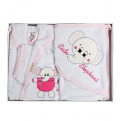 Бебешки хавлиен халат с хавлийка комплект Elephant