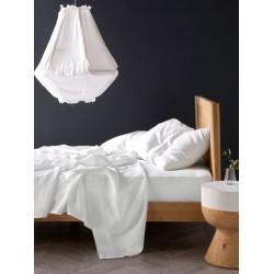 Спално бельо с чаршаф с ластик Бяло