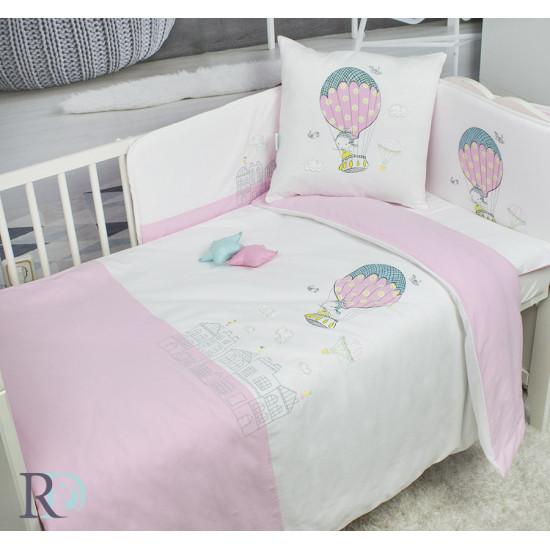Бебешко спално бельо с чаршаф с ластик Balloon Pink