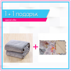 3D шалте Орхидея + поларено одеяло в сиво