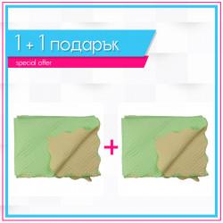2 броя двулицеви шалтета Зелено и праскова в комплект