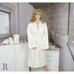 СЕТ Луксозен халат с бродерия , кърпа и чехли за баня Caya Champagne