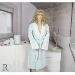 СЕТ Луксозен халат с бродерия , кърпа и чехли за баня Caya Aqua