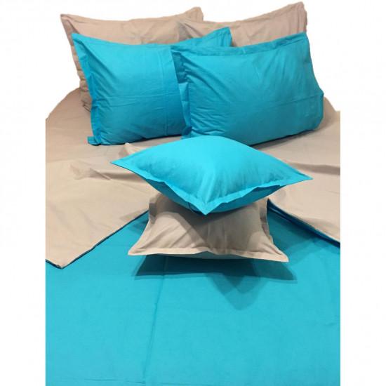 Колоритно спално бельо ранфорс Аква и Сиво