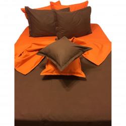 Колоритно спално бельо ранфорс Оранжево и Кафяво