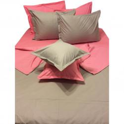 Колоритно спално бельо ранфорс Розово и Сиво