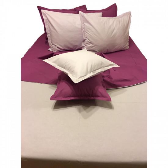 Колоритно спално бельо ранфорс Сиво и Лила