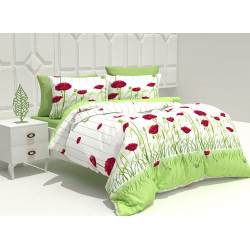100% Памук спално бельо Макове зелено