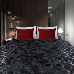 Черно кожено шалте за диван или легло