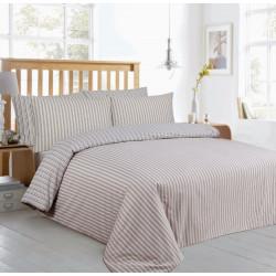 Луксозно спално бельо Beige Stripes памучен сатен