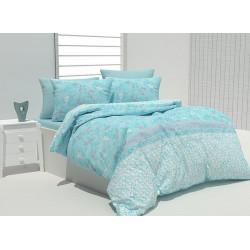 Спално бельо 100% Памук Бриен аква