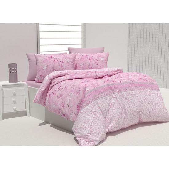 Спално бельо 100% Памук Бриен розово