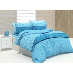 Спално бельо 100% Памук Rikko аква