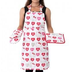 Кухненска престилка с ръкохватка и ръкавици Hello Kitty