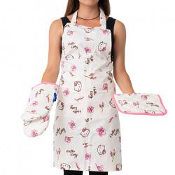 Кухненска престилка с ръкохватка и ръкавици Hello Kitty розово
