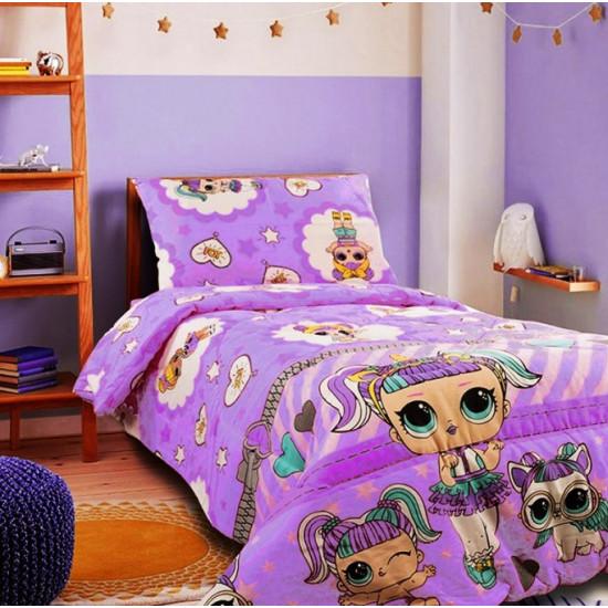 Детско спално бельо 100% Памук LoL лилаво