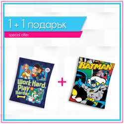 Детско висококачествено одеяло 1+1 Paw Patrol + Batman comics