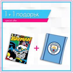 Детско висококачествено одеяло 1+1 Batman comics + Manchester City