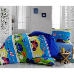 Детско спално бельо ранфорс Забавните колички
