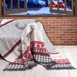 Коледно памучно одеяло с еленчета Меринос