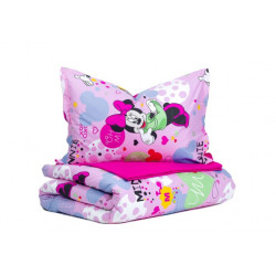 Детско спално бельо от ранфорс Мики и Мини розово