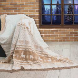 Коледно одеяло Меринос памук Еленчета бежово