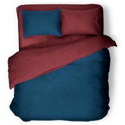 Двулицево спално бельо от ранфорс Бордо и Синьо