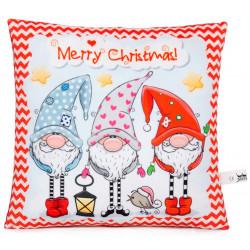 Коледна декоративна възглавница Весели Джуджета