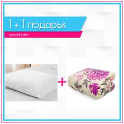 Олекотена завивка с лилави цветя + възглавница 1+1