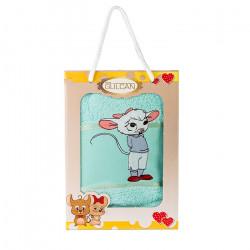 Хавлиена кърпа с детска апликация Мишле аква