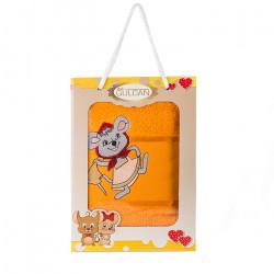 Хавлиена кърпа с детска апликация Мишле оранж