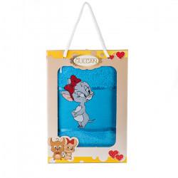Хавлиена кърпа с детска апликация Мишле синьо