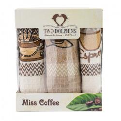 3 броя вафлени кърпи с апликация Кафе