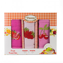 3 броя вафлени кърпи с апликация Плодчета