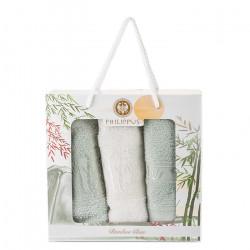 3 броя бамбукови кърпи Зелено и Екрю