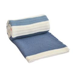 Памучно бебешко одеяло Синьо и Червено