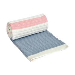 Памучно бебешко одеяло Синьо и Розово