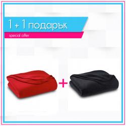 Два броя бюджетно поларено одеяло в черно и червено