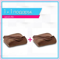 Два броя бюджетно поларено одеяло в кафяво
