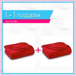 Два броя бюджетно поларено одеяло в червено